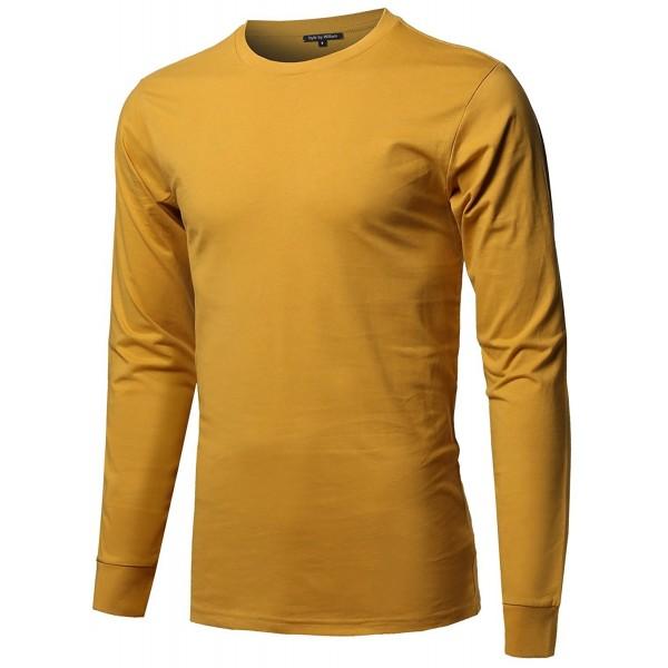 Causal Cotton Sleeve T Shirt Mustard