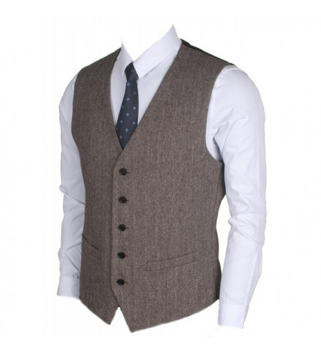 Ruth Boaz 2Pockets 5Buttons Wool Herringbone Tweed Business Suit Vest Herringbone