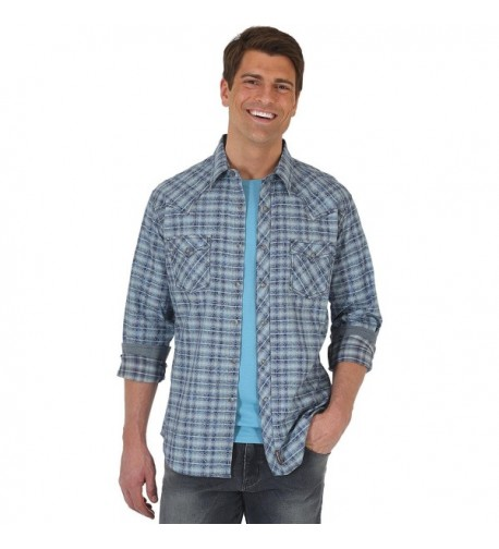 Wrangler Men/'s Retro Long Sleeve Western Snap Shirt Blue//Grey MVR323M