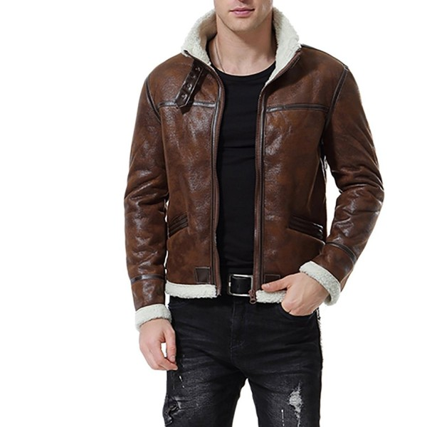 AOWOFS Leather Jacket Motorcycle Shearling