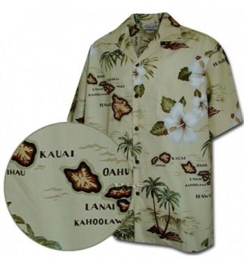 Tropical Shirts Hawaiian Maps Khaki