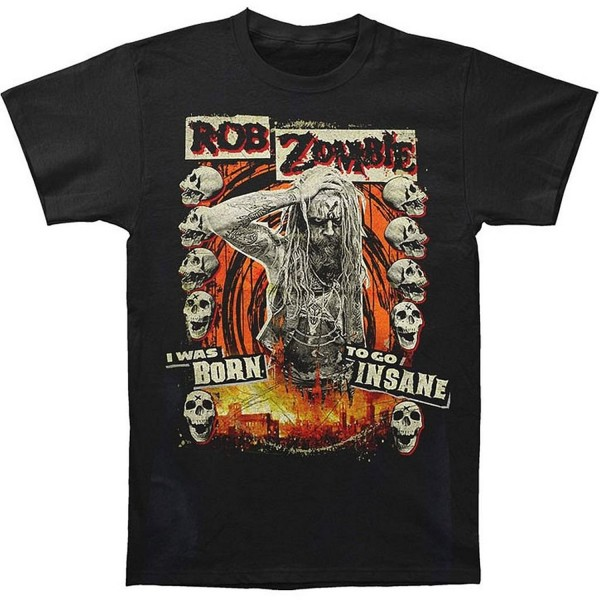 Zombie Born Insane Black T Shirt