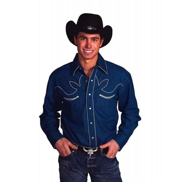 Cotton Retro Western Cowboy Shirt Denim Medium
