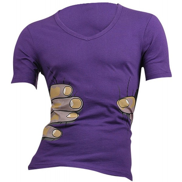 jeansian Casual Sleeves T Shirts Purple