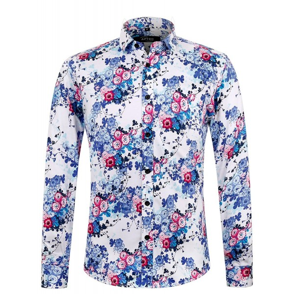 Mens Plus Size Button Down Leaf Printing Long Sleeve Shirt