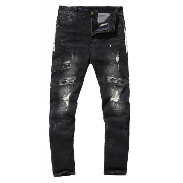 Mens Ripped Biker Jeans Black