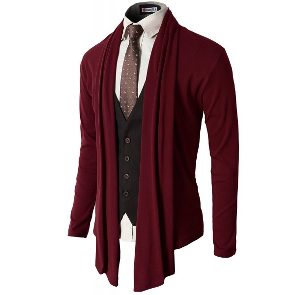 748750eba6 Mens Casual Slim Fit Shawl Collar Open-Front Lightweight Long ...