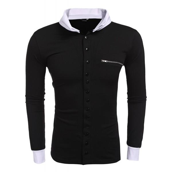 COOFANDY Sleeve Button Cardigan Contrast
