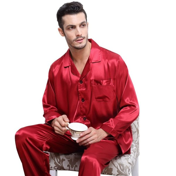... Mens Silk Satin Pajamas Set Sleepwear Loungewear S~4XL Plus - Wine Red  - CB12G24ZFV3. Lonxu Satin Pajamas Sleepwear Loungewear a6dfc717a