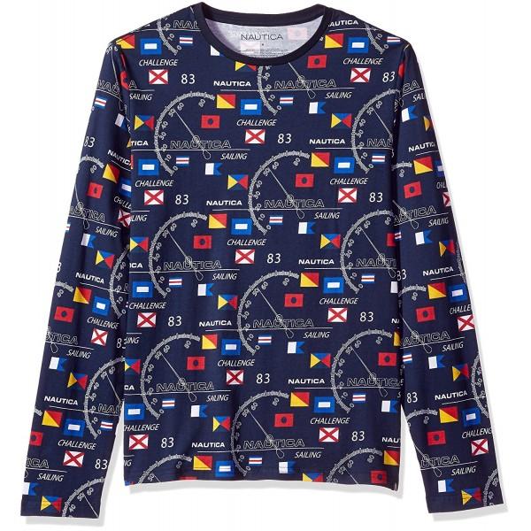 df7f323b5 Men's Graphic Crew Neck Long Sleeve T-Shirt - Navy - CW182W8L24U