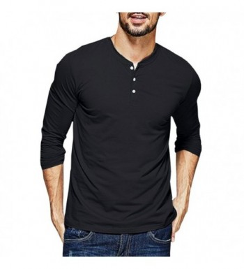 Henley T Shirts Sleeve Button Cotton