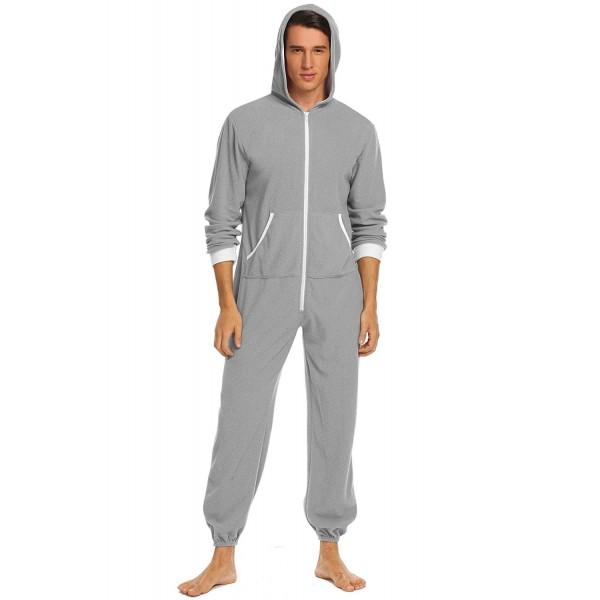 2823c1acaa45 Mens Hooded Pajamas Set Onesie Jumpsuit Adult One Piece Pajamas ...