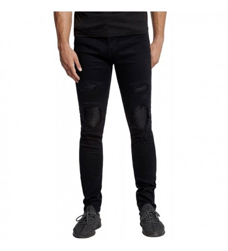 Leather Distressed Destroyed Tapered Stretch