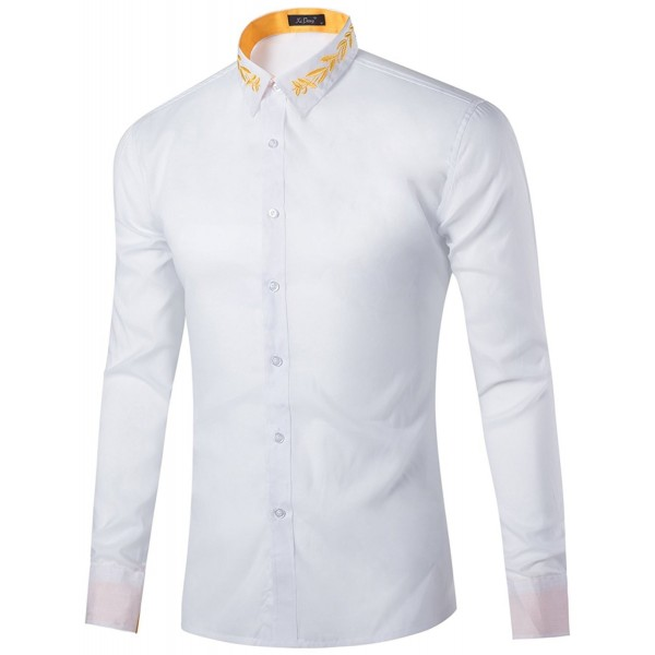 602a56c1f4 ... Men's Casual Dress Golden Floral Embroidered Button Down Long Sleeve  Shirts - White - CF182GHM4LR. KIMIST Casual Golden Floral Embroidered