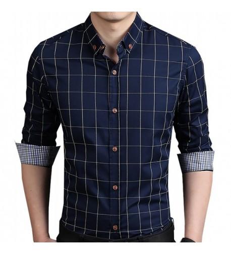 Aiyino Cotton Sleeve Plaid Button
