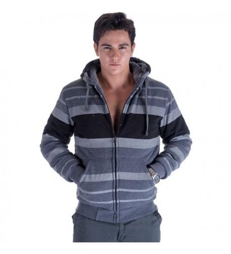 Leehanton Stripe Sherpa Lined Sweatshirt X Large