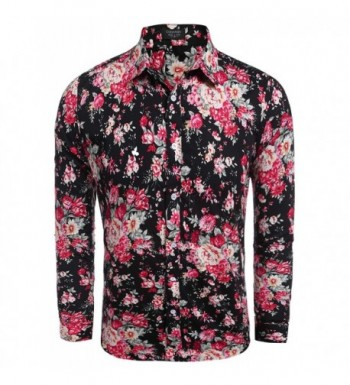 Jinidu Mens Fashion Short Sleeve Hawaiian Shirts Printed Floral Button Down Shirt