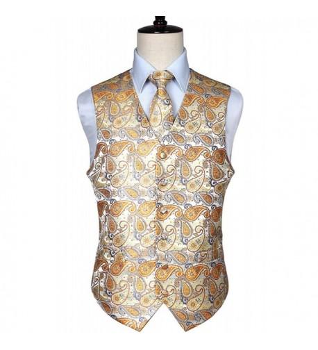 HISDERN Paisley Floral Jacquard Waistcoat