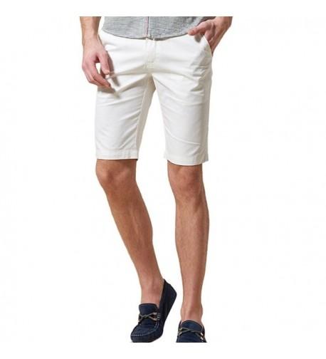 Zengvee Mens Flat Front Short White