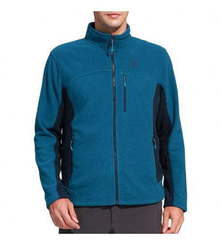 Camel Collar Windproof Full Zip Jacket Blue