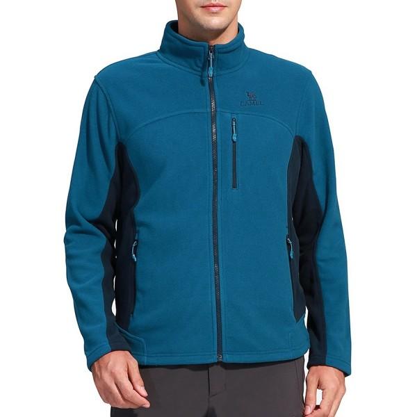 Camel Collar Windproof Full Zip Jacket Blue