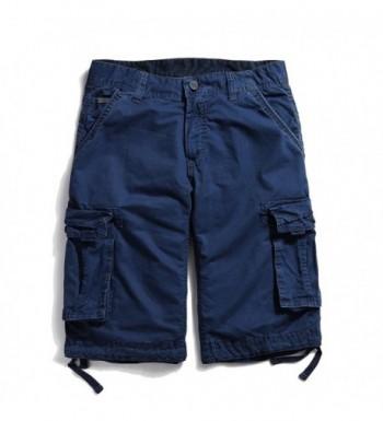 OCHENTA Cotton Casual Shorts sapphire