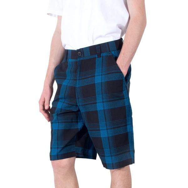 YAGO Shorts Plaid Print Pocket