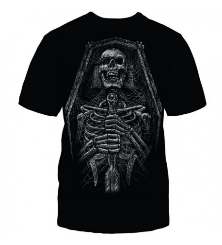 HALLOWEEN RIP SKELETON BLACK TSHIRT