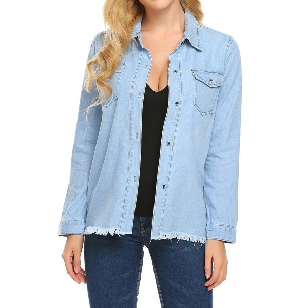6e42c60810 Women's Long Sleeve Denim Shirt Button Down Blouse Tops - Light Blue ...