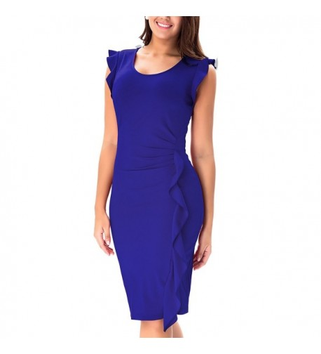 Noctflos Womens Ruffles Business Bodycon