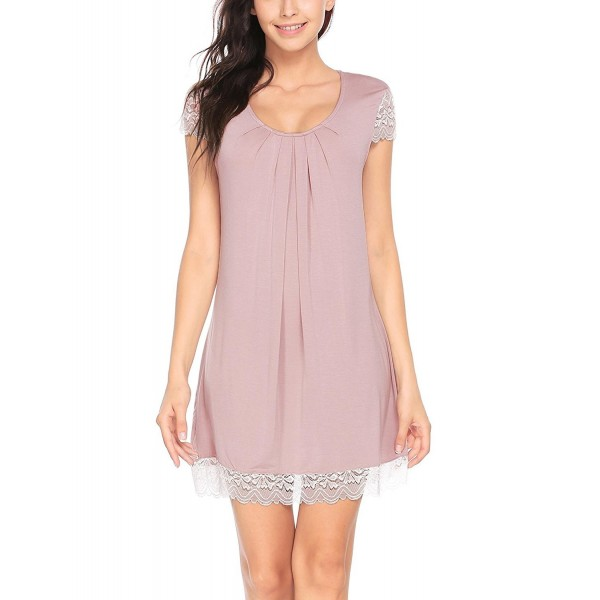 ... Nightwear Lace Cap Sleeve Chemise Sleep Dress S-XXL - Rose Gray -  CH189O4UD38. Aimado Nightgowns Pleated Sleepwear XX Large 6f1c05e56