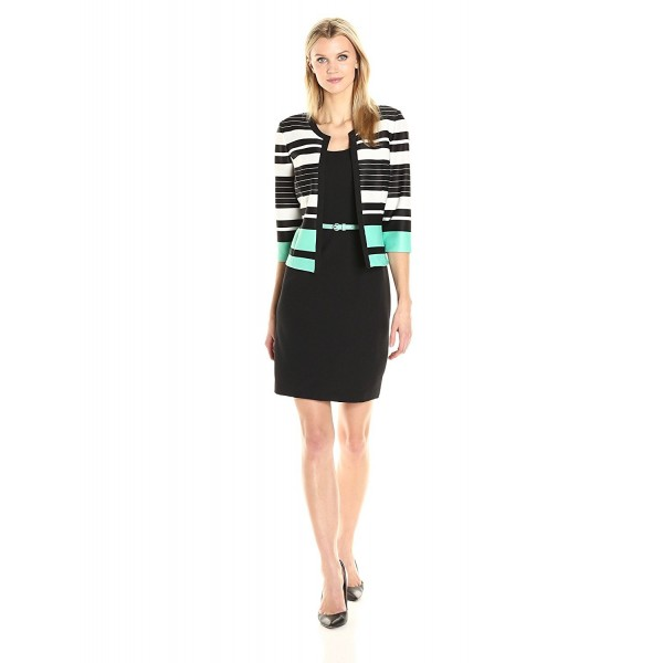 Sandra Darren Womens Striped Sleeve