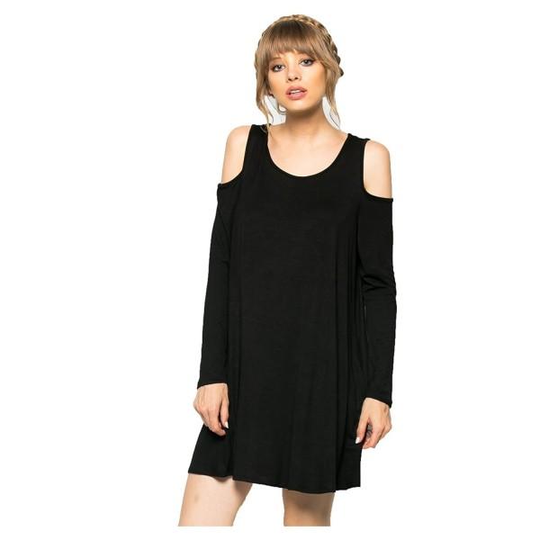 Women\'s Long Sleeve Cold-Shoulder Jersey Swing Dress(S-Plus Size) - Black -  CN12KIIEHI1