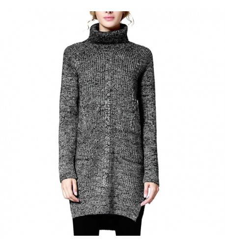 Rocorose Womens High low Turtleneck Sweater