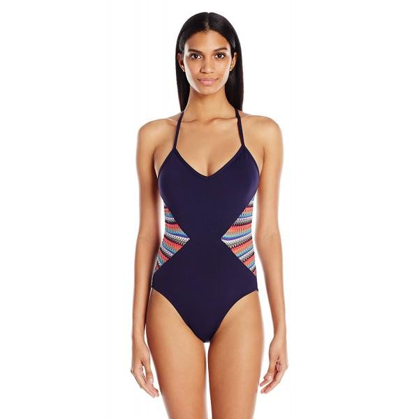 Womens Multi Color Crochet Splice X Back One Piece Swimsuit Multi