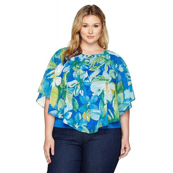 Alfred Dunner Womens Tropical Overlay