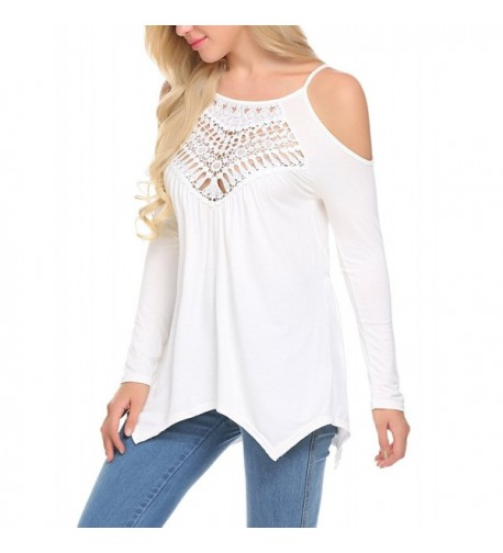 LuckyMore Shoulder Blouse Shirts Sleeve