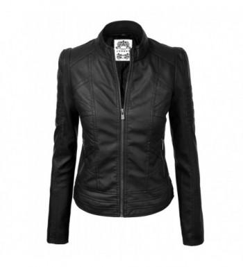 WJC746 Womens Leather Motorcycle Jacket