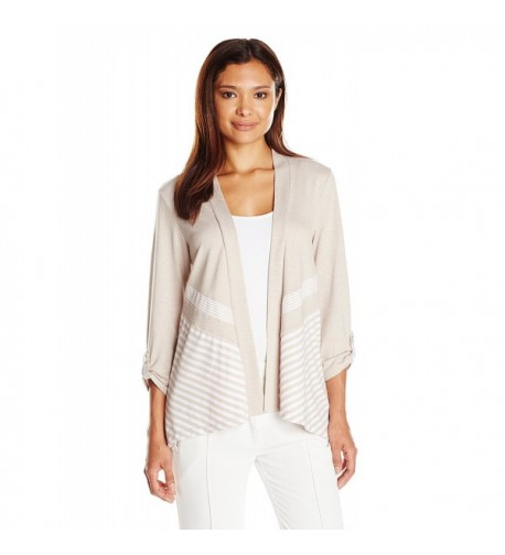 Alfred Dunner Womens Striped Cardigan