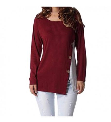 Auxo Buttons Hemline Patchwork T Shirt