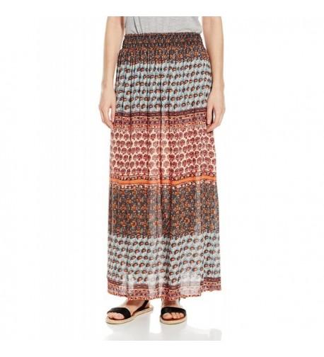 Angie Womens Smocked Waist Skirt
