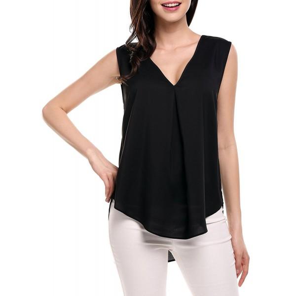 235fe8b7162684 ... Blouse Tops Sleeveless Shirt - Black - CE17Z4XXN60. Meaneor Womens  Casual Summer Sleeveless