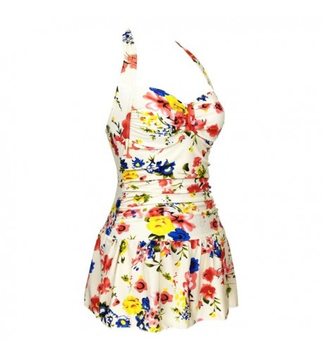 Floral Ruched Control Tankini Swimdress