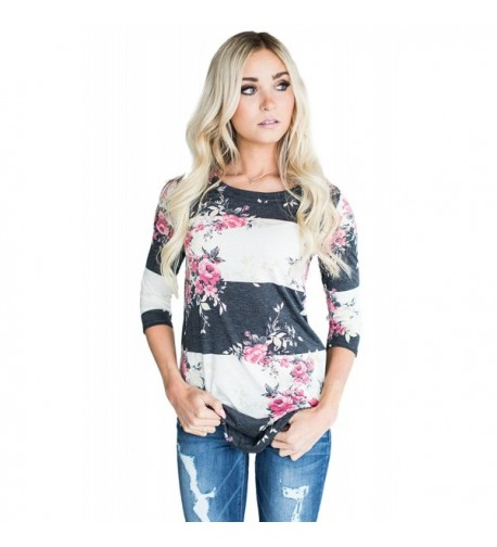 AKABELA Florals T Shirts Striped Blouses