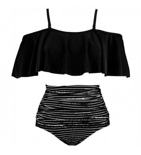 COCOSHIP Striped Balancing Ruffled Swimsuit
