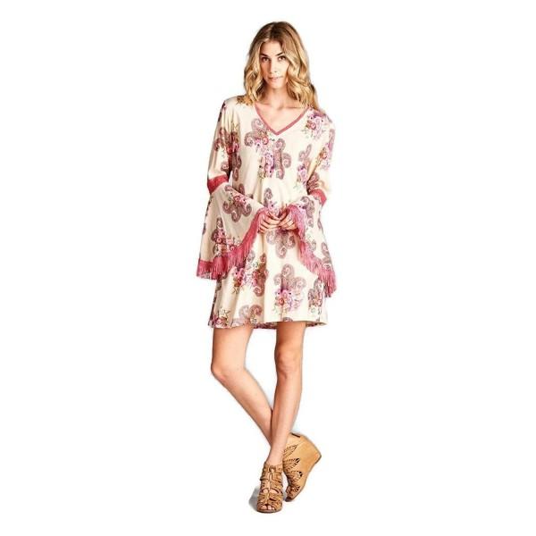1caec48d9ffe ... Tunic Dress Boho Chic reg & Plus Size - Beige - C017YT3ODEY. Velzera  Womens Floral Paisley Fringe